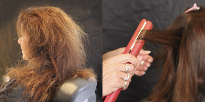 Dauerhafte Haarglättung vorher/nachher